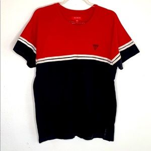 Guess Red/White/Black Shirt with Logo Large